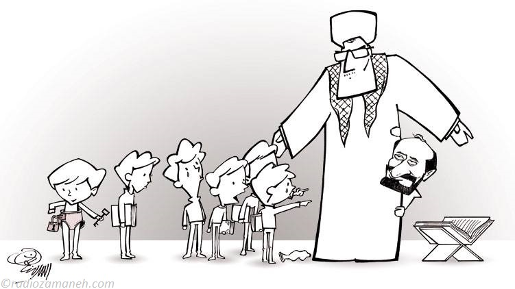 Assad-Binakhahi-Sexual-Abuse-of-Childeren-in-Iran-by-Quran-Reciter-Saeed-Toosi-Cartoon